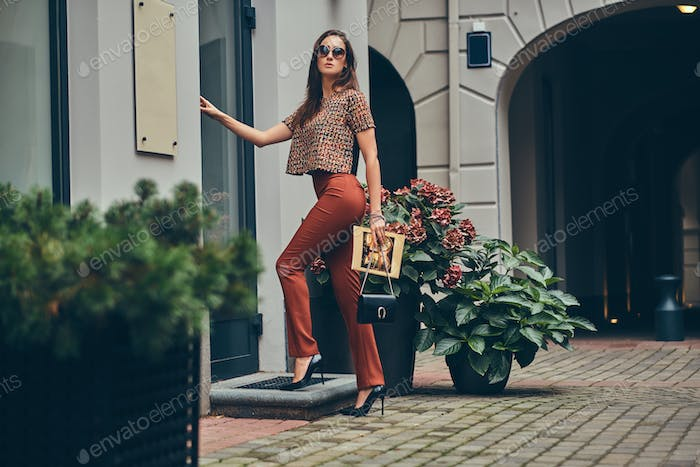 Beautiful fashionable brunette in a trendy clothing and sunglass