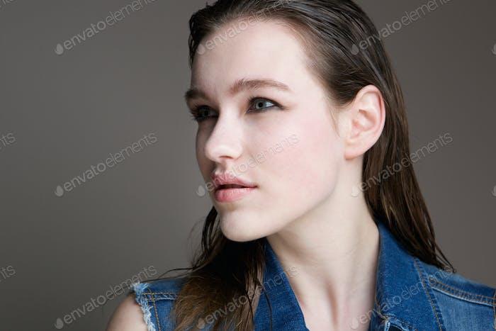 Close up portrait of a pretty woman