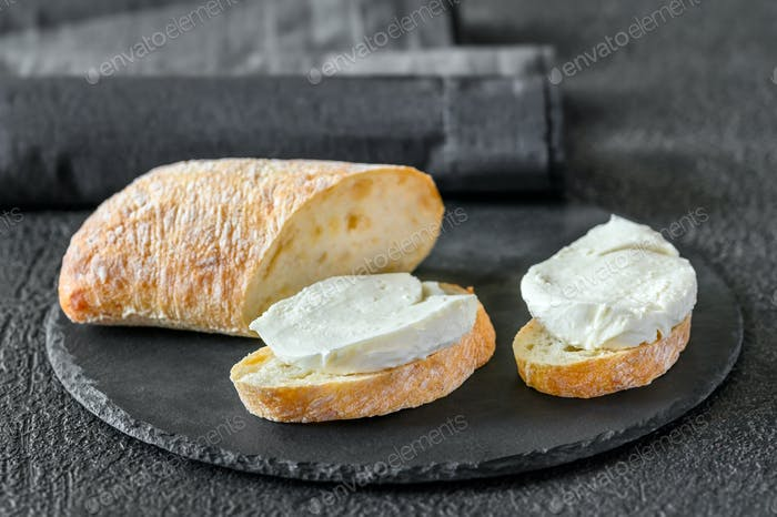 Sandwiches with ciabatta and mozzarella