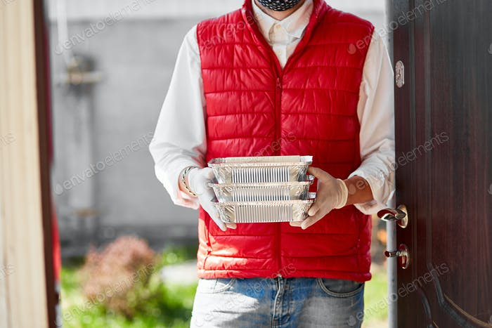 Courier hold go box food, delivery service, Takeaway restaurants food delivery to home door.