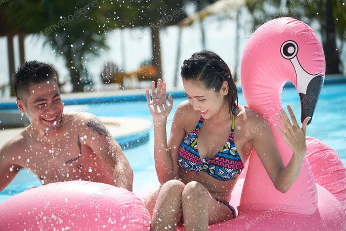 Splashing couple