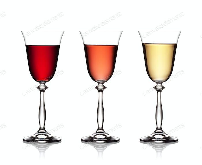 Glas Rotwein, Rose und Weißwein