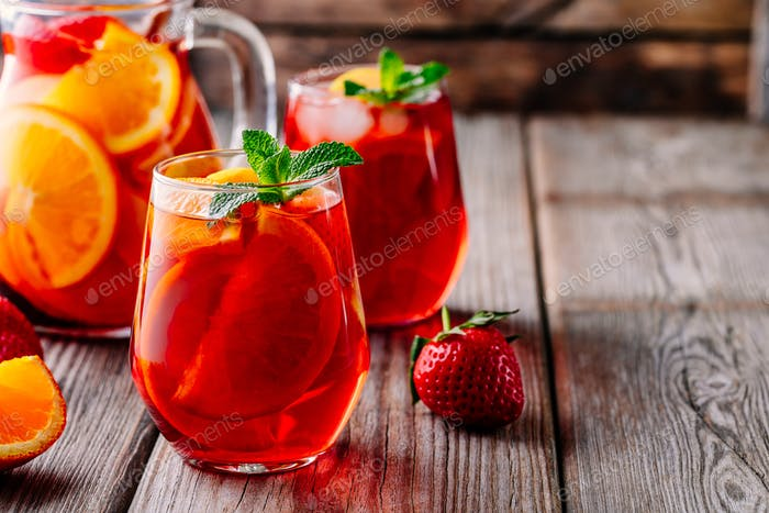 Homemade red wine sangria with orange, apple, strawberry