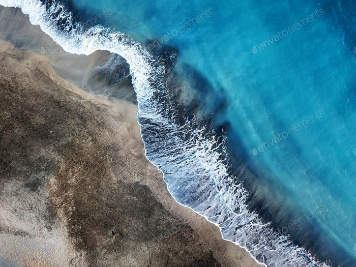 Top view of a deserted beach. Coast of the island of Tenerife. A