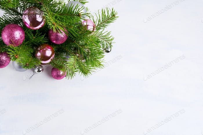 Christmas greeting with magenta, pink and silver ornaments, copy