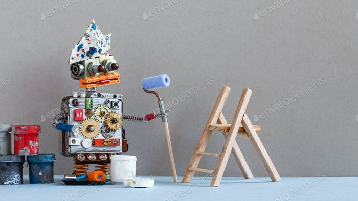 Robot decorator with paint roller, wooden ladder