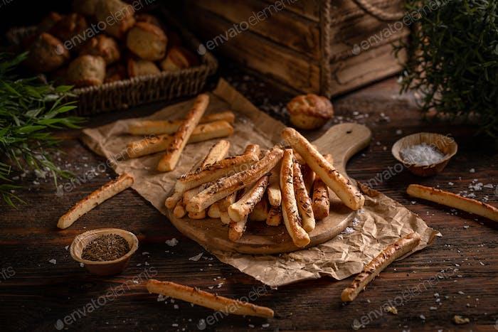 Baked sticks with cumin