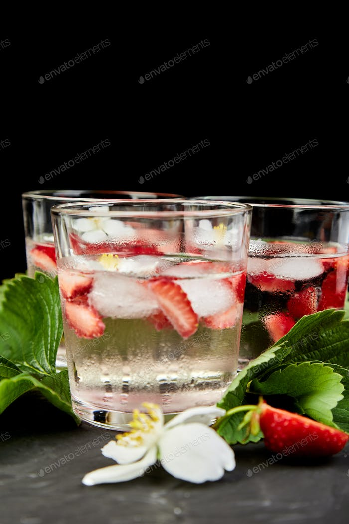 Strawberry detox water with jasmine flower.