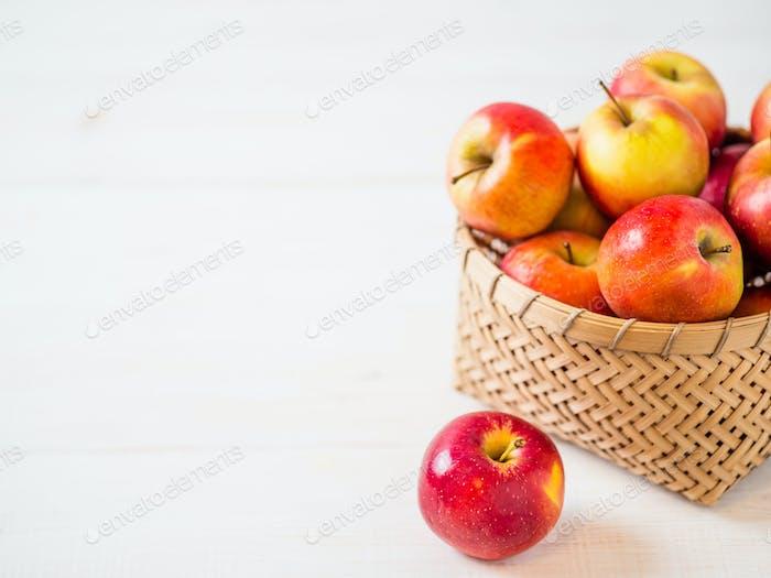 Apples harvest concept. Copy space