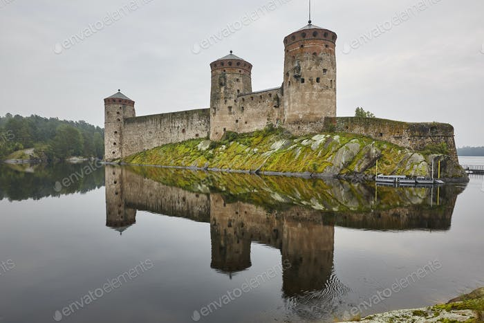 Savonlinna castle fortress at dawn. Finland landmark. Finnish heritage. Horizontal