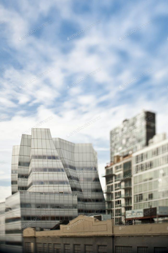 High rise apartment buildings.