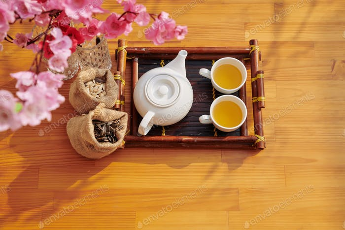 Bamboo tray with tea