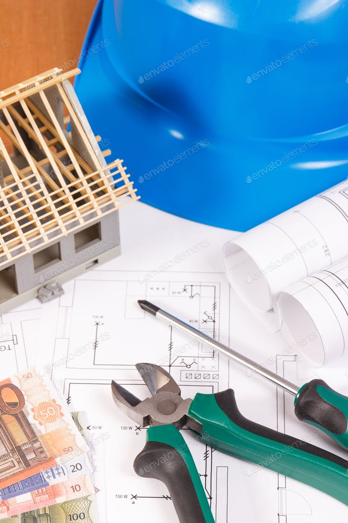 Electrical construction drawings, work tools for engineer jobs, small house and currencies euro