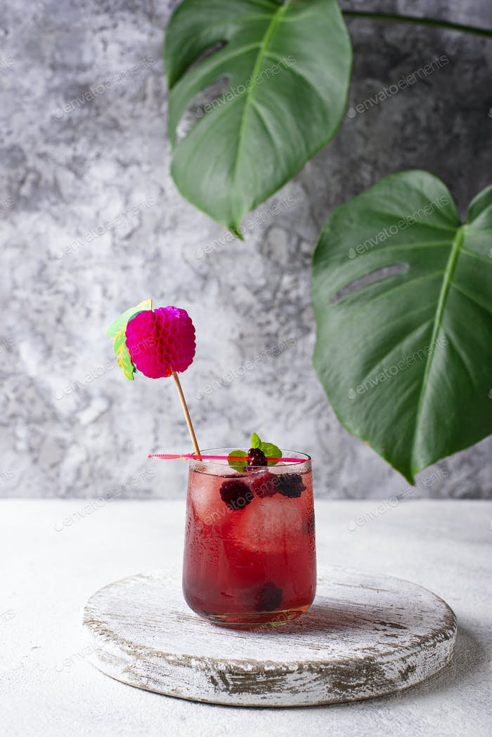 Summer cocktail with blackberry and ice