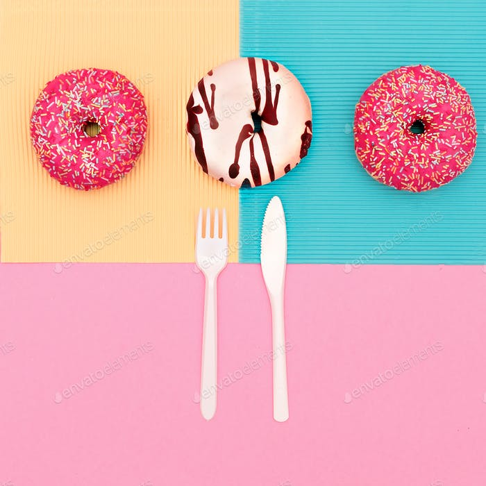 Creative set of donuts. Fast food minimal art
