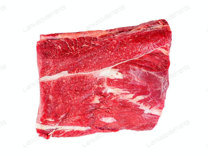 Strip loin of raw beef fillet, isolated image on case background, top view.