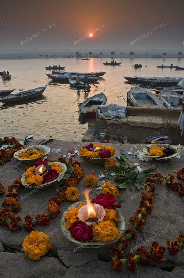 Kumbh Mela festival in Varanasi, offerings to the gods