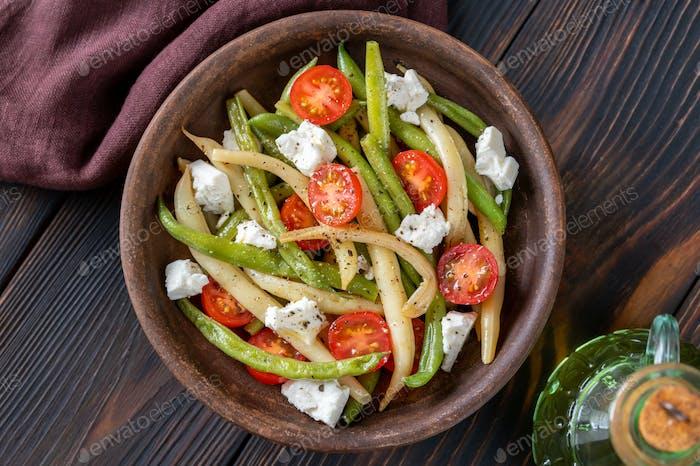 Grüne und gelbe Bohnen Salat