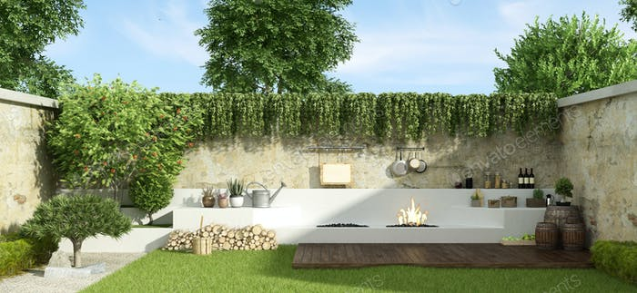 Small garden with barbecue on background in a sunny day - 3d rendering