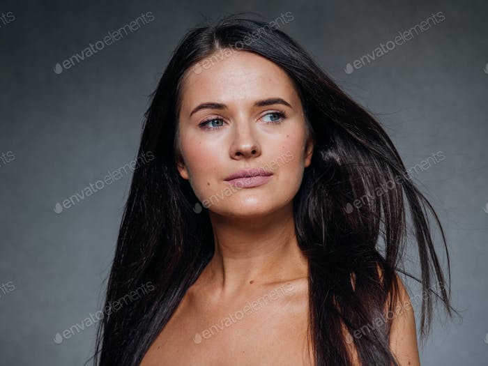Beautiful woman art concept long brunette hair natural makeup fashion picture
