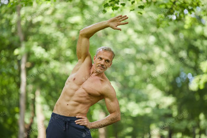 Mature Man Exercising Shirtless
