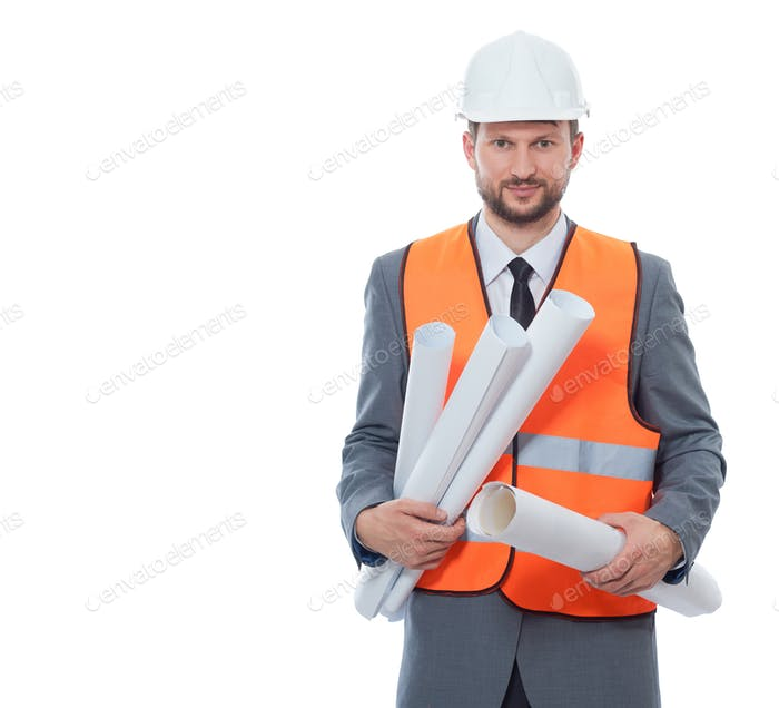 Architect in orange vest holding may paper drawing plans
