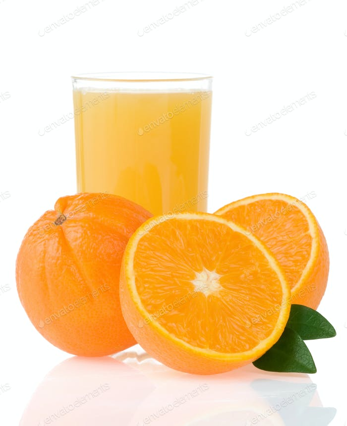 orange juice in glass and slices isolated on white