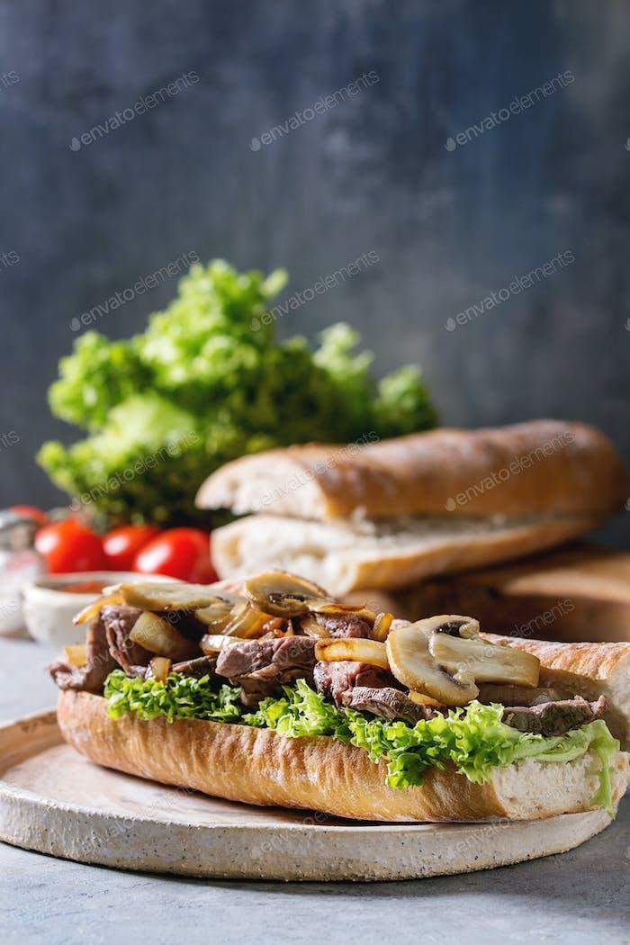 Rindfleisch-Baguette-Sandwich