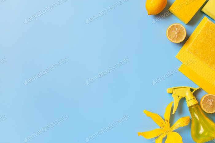 Yellow Cleaning Supplies on the Blue Table