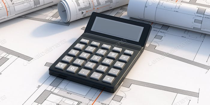 Calculator on blueprint plans background.  Construction budget concept. 3d illustration