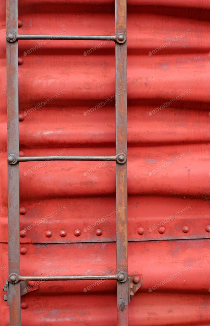 Ladder on the side of a train boxcar