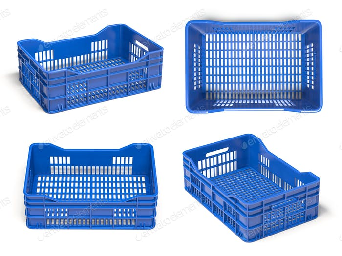 Empty plastic crate or box for fruits and vegetables isolated on white.