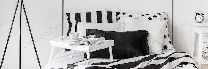 Contemporary black and white bedroom