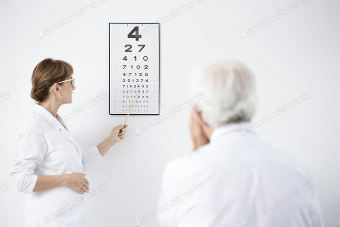 Ophthalmologist during examining patient