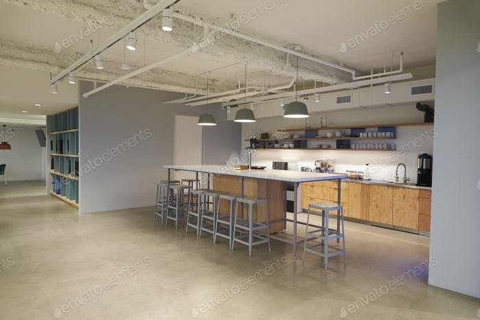 Corporate business cafeteria kitchen area, Los Angeles
