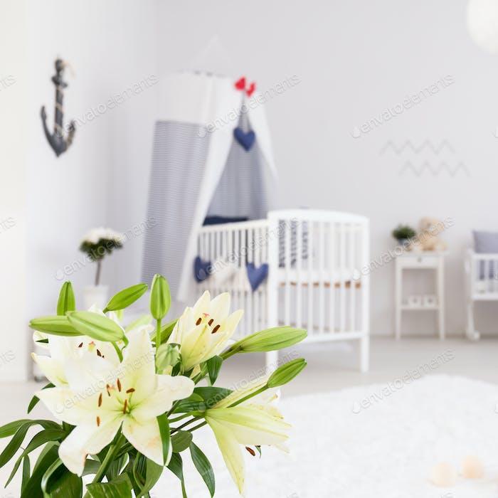 White minimalist baby room