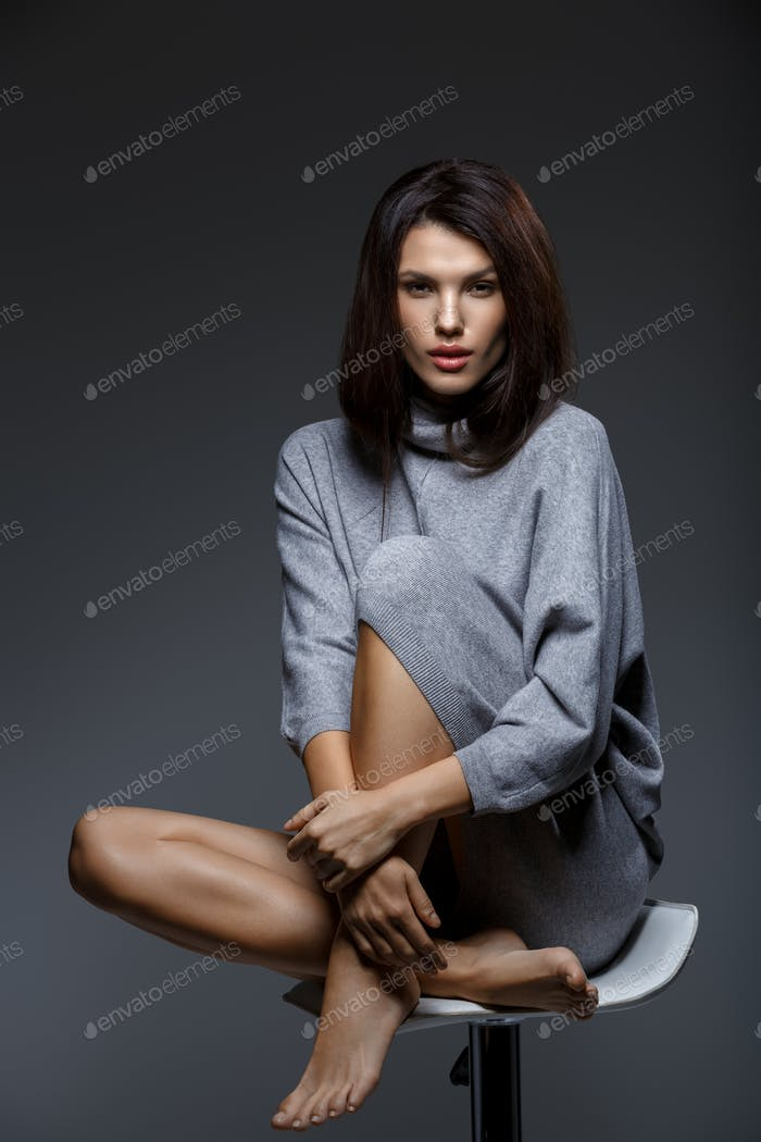girl in grey sweater