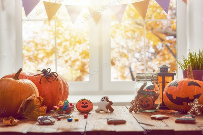 Kürbis, Süßigkeiten und Kekse