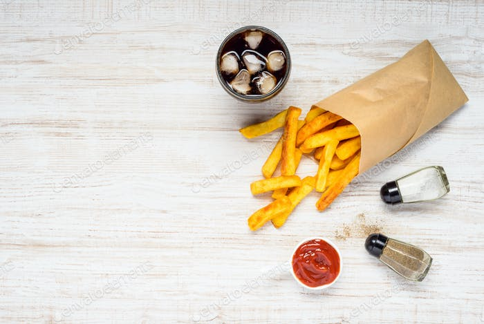 French Fries with Ice Cola on Copy Space