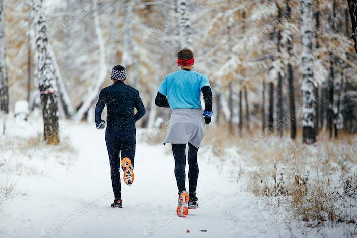 Men Runners Together Run