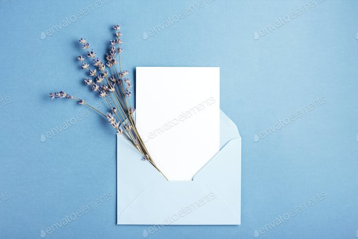 Envelope with Empty Card and Lavender.
