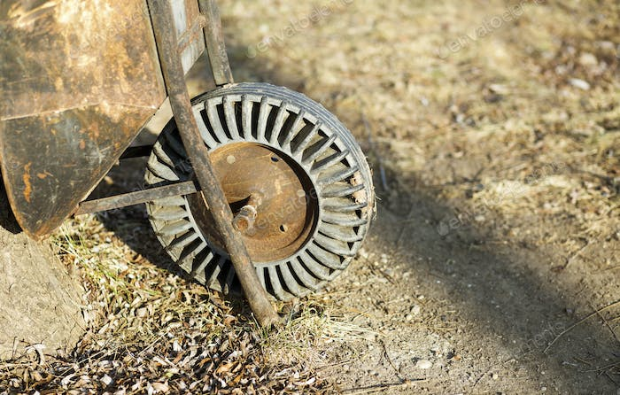 Rusty vintage wheelbarrow