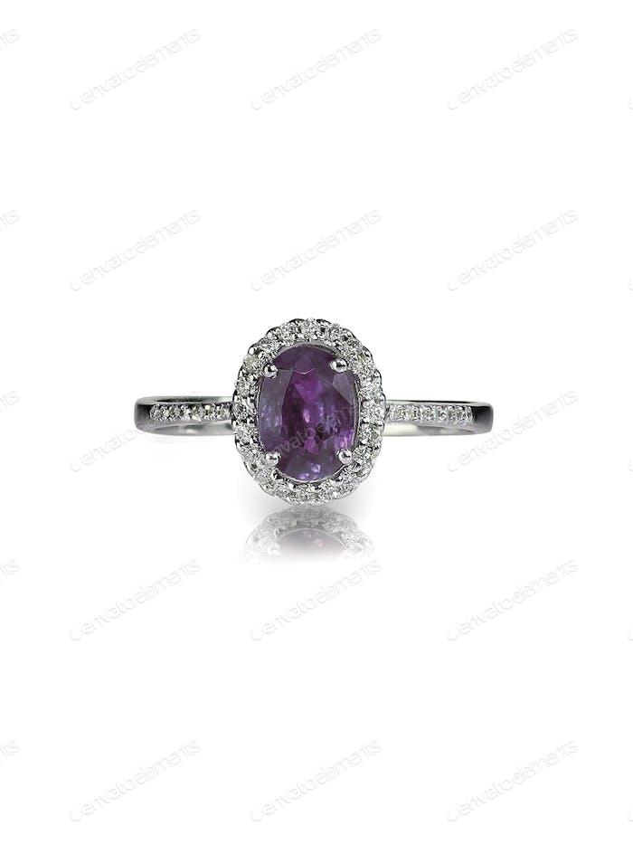 diamond amethyst purple ring engagement wedding bridal