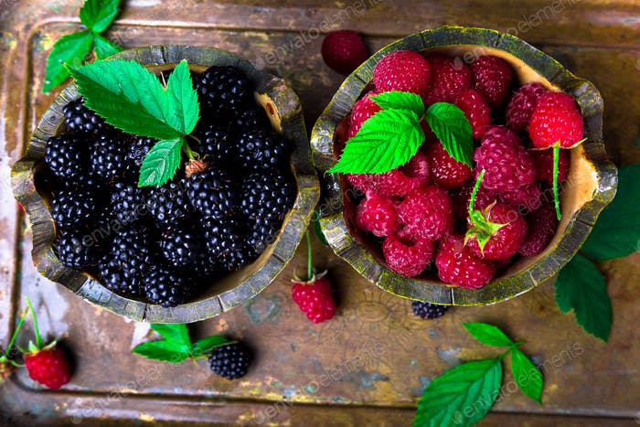Red raspberry with leaf