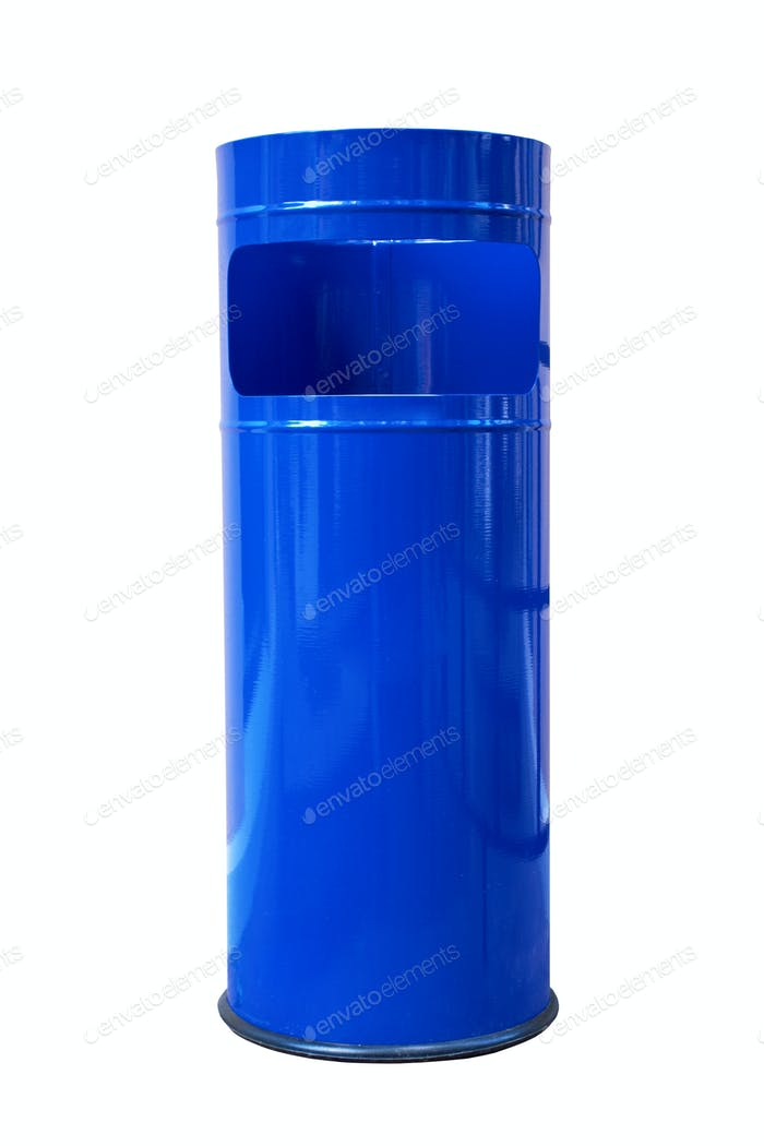 dark blue refuse bin