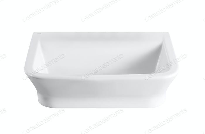 Weiße leere Keramik Backform auf weiß