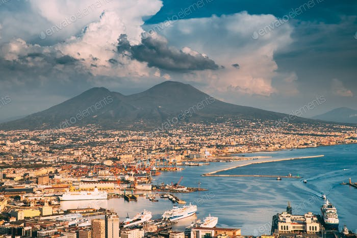 Naples, Italy. Top View Cityscape Skyline Of Naples With Mount Vesuvius And Gulf Of Naples In