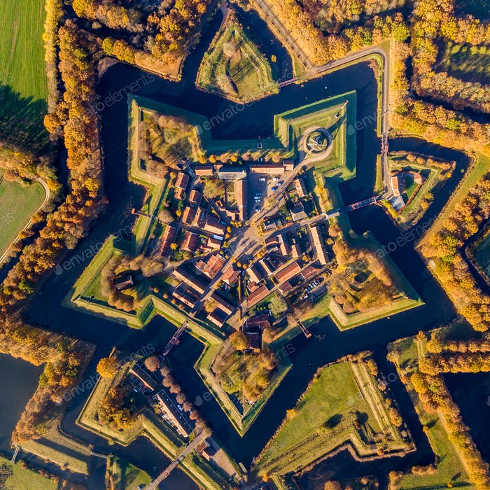 Aerial view of Fortification village of Bourtange crop