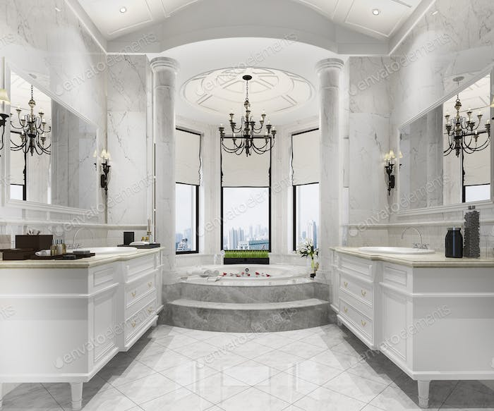 3d rendering classic modern bathroom with luxury tile decor