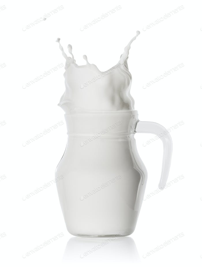 Splash of milk in glass jug
